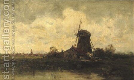 A windmill along a river by Charles Paul Gruppe - Reproduction Oil Painting