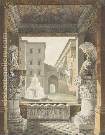 A Roman courtyard seen from a loggia decorated with antique helmets on composite columns and a sarcophagus by Charles Percier - Reproduction Oil Painting