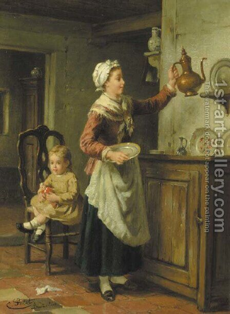 Mother's little helpers by Charles Petit - Reproduction Oil Painting