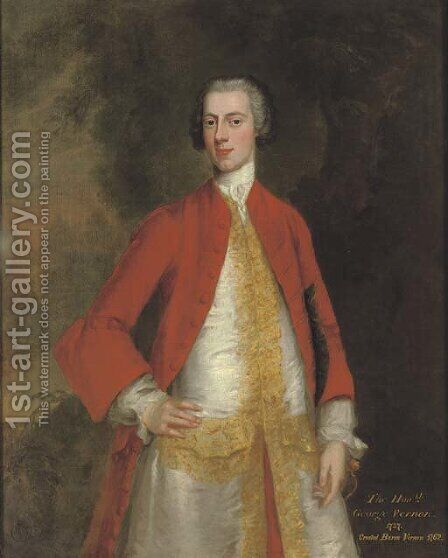 Portrait of George, 1st Baron Vernon of Sudbury, Derbyshire (b. 1707-8), three-quarter-length, in a red coat and white waistcoat with gold trim by Charles Philips - Reproduction Oil Painting