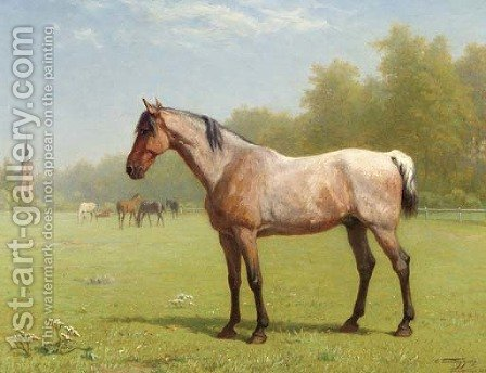 Horses in a meadow, the church of Brasschaat beyond by Charles Philogene Tschaggeny - Reproduction Oil Painting