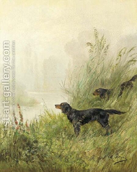 Setters in the marshes by Charles R. Reyne - Reproduction Oil Painting
