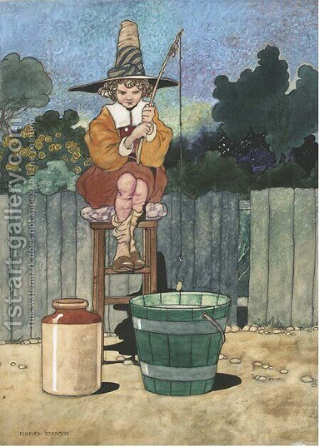 Simple Simon 'All the water he had got was in his mother's pail.' by Charles Robinson - Reproduction Oil Painting