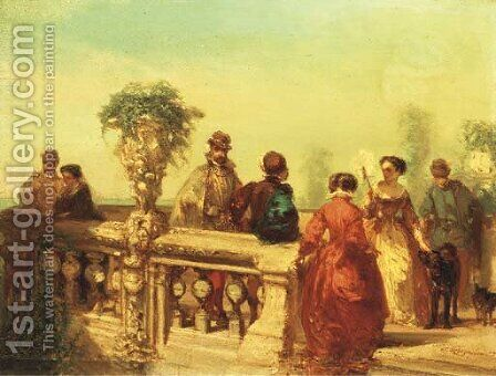 La Terasse elegant company on a terrace by Charles Rochussen - Reproduction Oil Painting