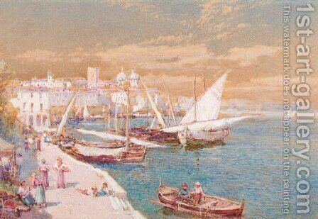 Figures at a market in a harbour by Charles Rowbotham - Reproduction Oil Painting