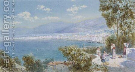 Figures coming from market on the Italian coast by Charles Rowbotham - Reproduction Oil Painting