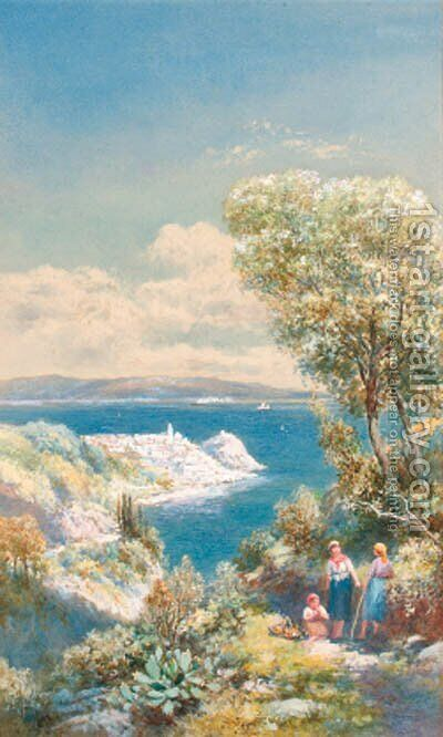 Figures  on a track overlooking Scyla, Calabrih at the entrance of the straits of Messina by Charles Rowbotham - Reproduction Oil Painting