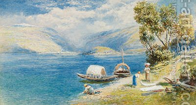 Lake Como with Bellagio in the distance, Italy by Charles Rowbotham - Reproduction Oil Painting