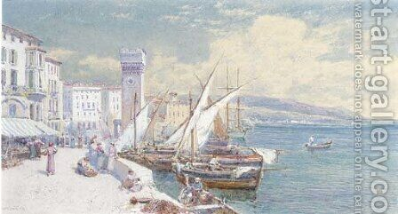 The quay, Savona, northern Italy by Charles Rowbotham - Reproduction Oil Painting