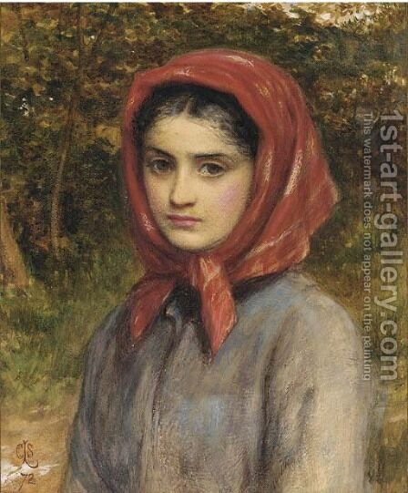 A study of a gipsy by Charles Sillem Lidderdale - Reproduction Oil Painting