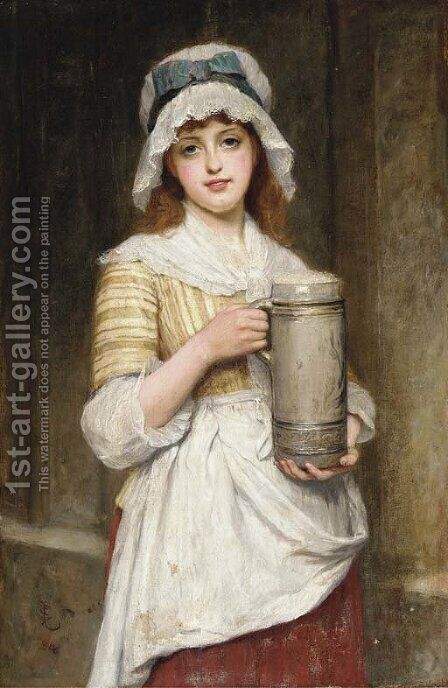 The young barmaid by Charles Sillem Lidderdale - Reproduction Oil Painting