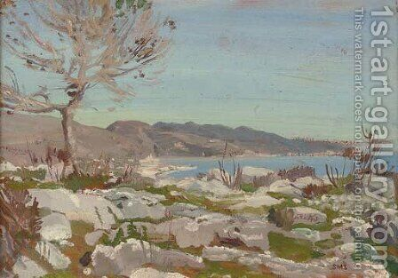 The coast near Menton, south of France by Charles Sims - Reproduction Oil Painting