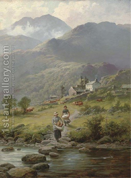 Washing laundry in the river, a mountainous landscape and farmstead beyond by Charles Stuart - Reproduction Oil Painting