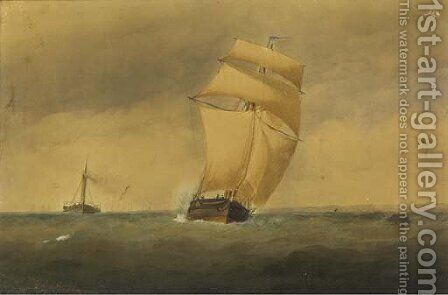 A sailing trader and paddle tug running down Channel by Charles Taylor - Reproduction Oil Painting