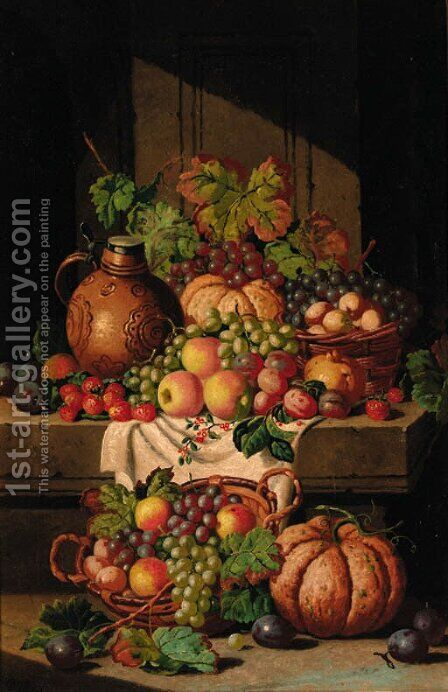 A flask on a ledge, with baskets of grapes, plums, apples and squashes by Charles Thomas Bale - Reproduction Oil Painting