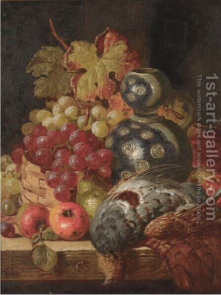 Fruit and game on a ledge by Charles Thomas Bale - Reproduction Oil Painting