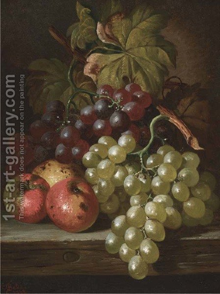 Grapes and apples on a wooden ledge by Charles Thomas Bale - Reproduction Oil Painting