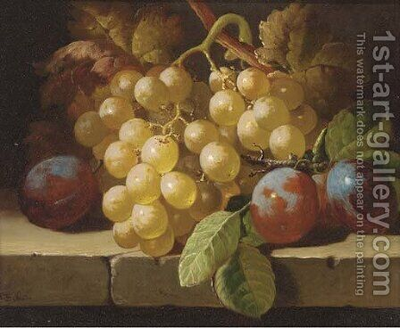 Grapes and plums on a stone ledge by Charles Thomas Bale - Reproduction Oil Painting