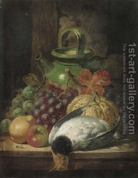 Grapes, a pumpkin, apple, pear, pigeon and pot, on a table by Charles Thomas Bale - Reproduction Oil Painting