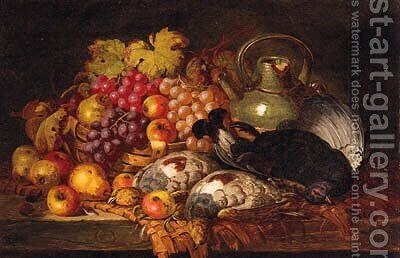 Grapes, Apples, Pears, Dead Game, A Wicker Basket And Stoneware Jug, On A Wooden Ledge by Charles Thomas Bale - Reproduction Oil Painting