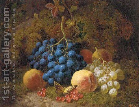 Grapes, peaches, redcurrants, and a butterfly, on a mossy bank by Charles Thomas Bale - Reproduction Oil Painting