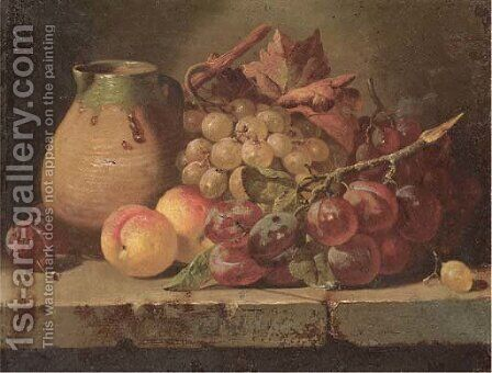 Grapes, plums, and peaches with a jug on a ledge by Charles Thomas Bale - Reproduction Oil Painting