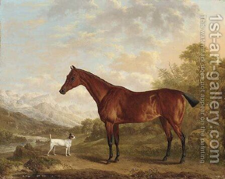 A bay hunter and terrier in a mountainous wooded landscape, a town and river beyond by Charles Towne - Reproduction Oil Painting