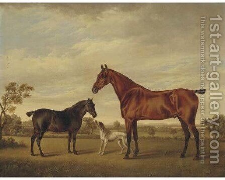 A horse and foal with a hound in a landscape by Charles Towne - Reproduction Oil Painting