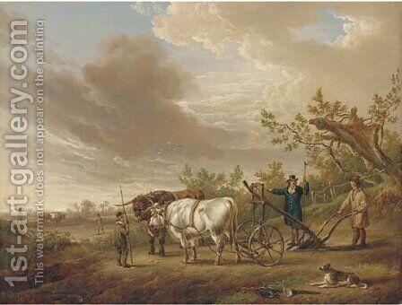 Oxen harnessed to a plough by Charles Towne - Reproduction Oil Painting
