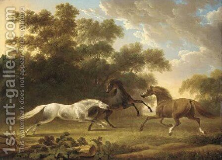 Stallions in a wooded paddock by Charles Towne - Reproduction Oil Painting