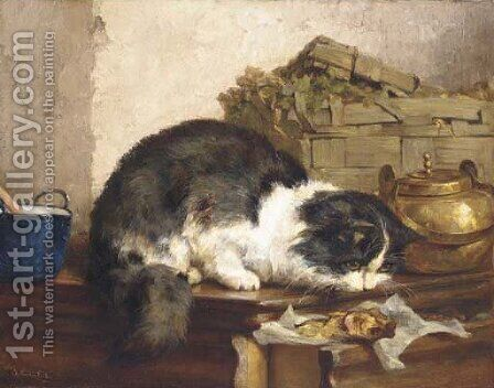A cat in the kitchen by Charles van den Eycken - Reproduction Oil Painting