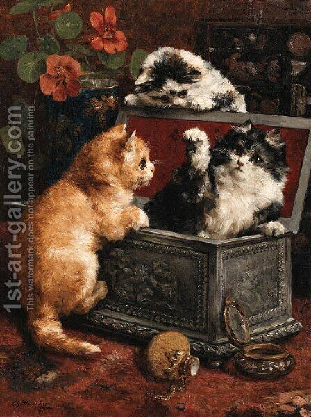 Cats by Charles van den Eycken - Reproduction Oil Painting
