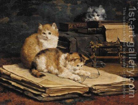 Feline librarians by Charles van den Eycken - Reproduction Oil Painting