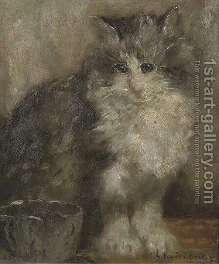 The contented cat by Charles van den Eycken - Reproduction Oil Painting