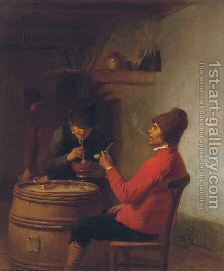 Smoking in the tavern by Charles Venneman - Reproduction Oil Painting