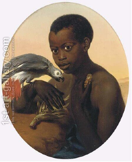 A boy and his African grey by Charles Verlat - Reproduction Oil Painting