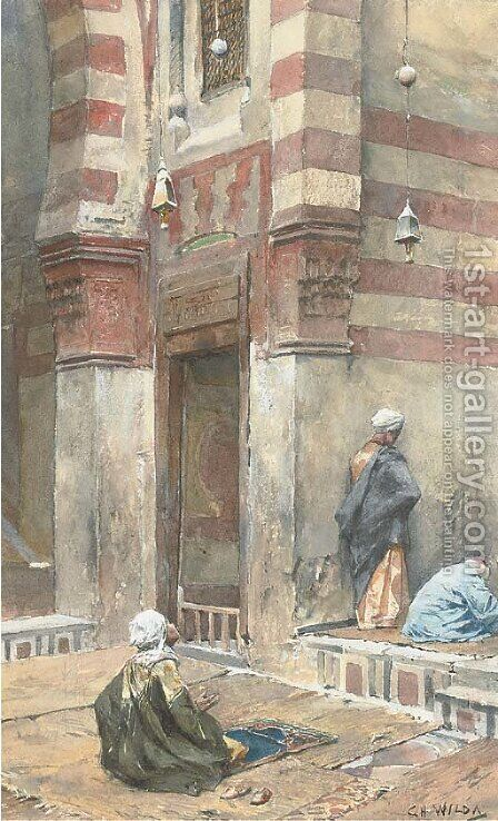Prayers at the mosque by Charles Wilda - Reproduction Oil Painting