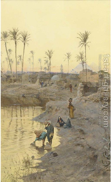 Watercarriers before The Pyramids at dusk by Charles Wilda - Reproduction Oil Painting