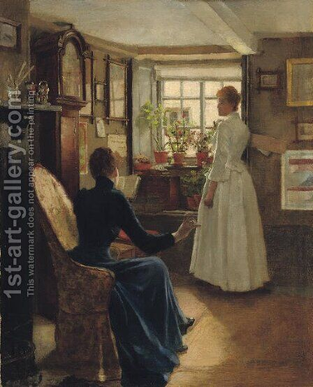 Reading aloud by Charles William Bartlett - Reproduction Oil Painting
