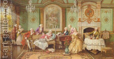 Elegant company relaxing in a drawing room by Charles Willis - Reproduction Oil Painting