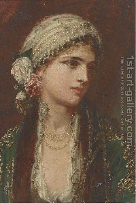 An Eastern beauty by Charles Wynee Nicholls - Reproduction Oil Painting