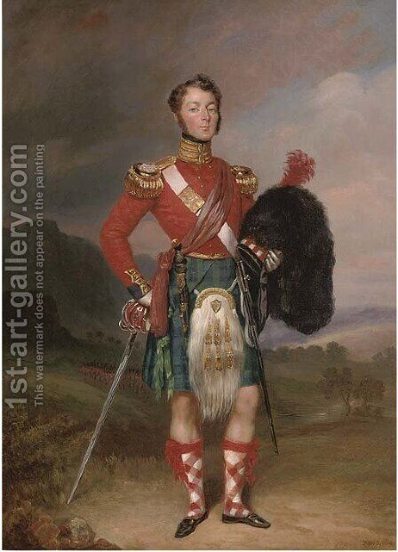 Portrait of Captain Robert Williamson Ramsay, small full-length, in the uniform of the 42nd Foot, the Black Watch, in a Highland landscape by Charles Achille D'Hardiviller - Reproduction Oil Painting