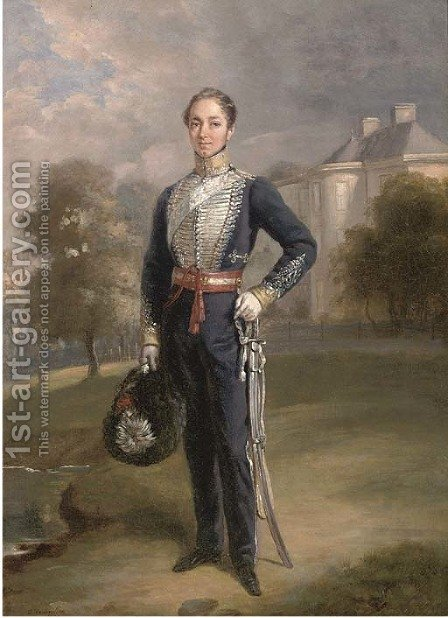 Portrait of Lieutenant George Ramsay of Lixmont, full-length, in the uniform of a Scottish Yeomanry Regiment, before a country house by Charles Achille D'Hardiviller - Reproduction Oil Painting