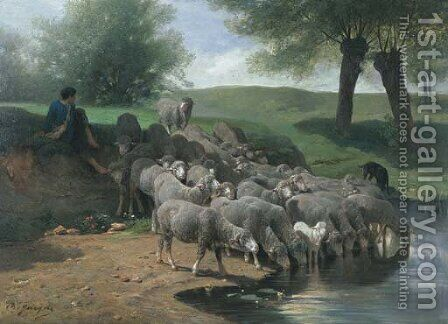 Un berger se reposant avec ses moutons by Charles Émile Jacque - Reproduction Oil Painting
