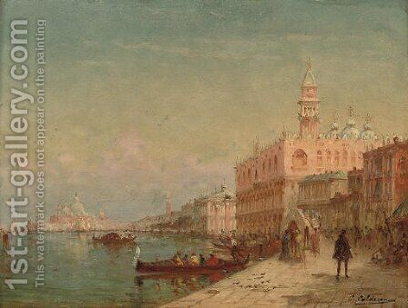 Before the Doge's Palace, Venice by Charles Clement Calderon - Reproduction Oil Painting