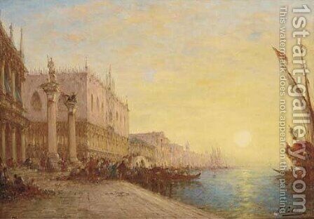 By the Piazzetta, St Mark's, Venice by Charles Clement Calderon - Reproduction Oil Painting