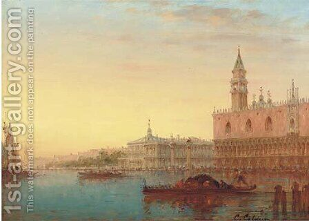 Gondolas before the Doge's Palace, Venice by Charles Clement Calderon - Reproduction Oil Painting
