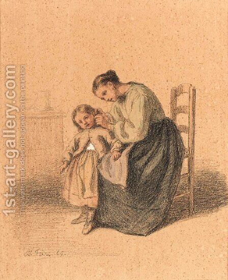 Tending her child by Edouard Frère - Reproduction Oil Painting