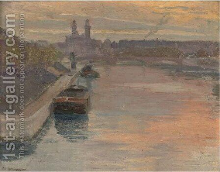 Coucher de soleil, la Seine by Charles-Emile Desmoulins - Reproduction Oil Painting