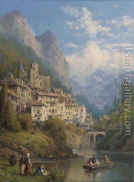 A lakeside town in Piemonte by Charles Euphraisie Kuwasseg - Reproduction Oil Painting